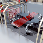Car body positioning in the painting cabin