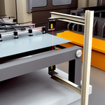 Positioning the transfer carriage for sheet metal feeding