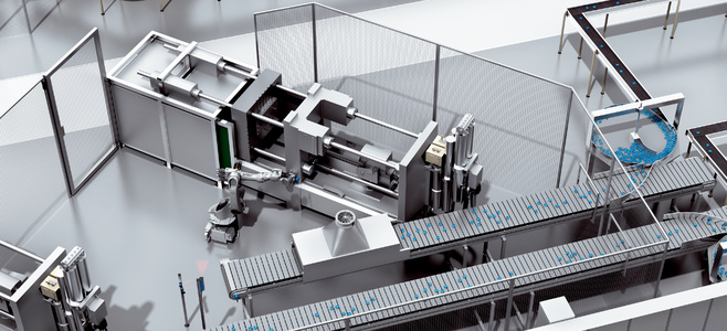 Automated removal and infeed of metal housings