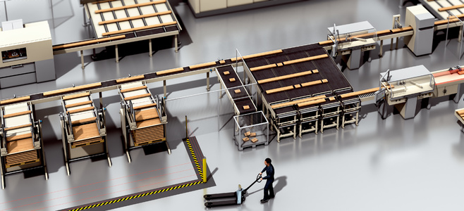 Cutting saw and pallet handling