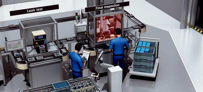 Halvautomatisk monteringslinje för slutkontroll