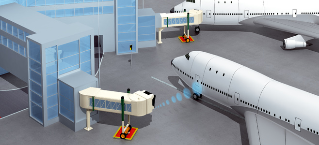 Passenger boarding bridge and aircraft docking system