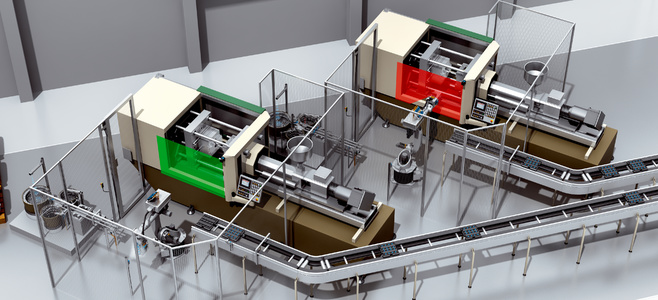 Automated removal and infeed of plastic housings