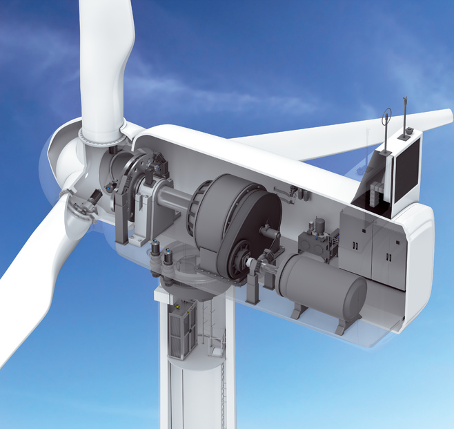 Wind power plant with gear