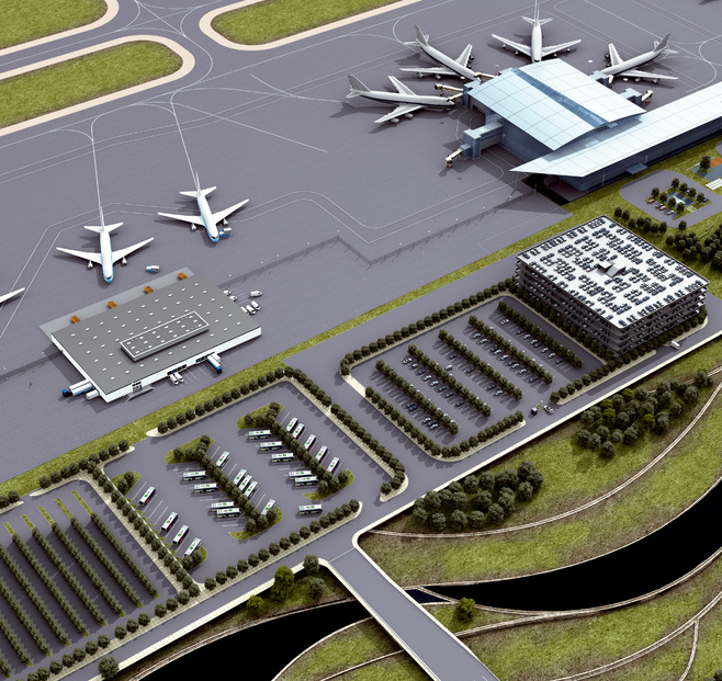 Building safety and security and building management at the airport