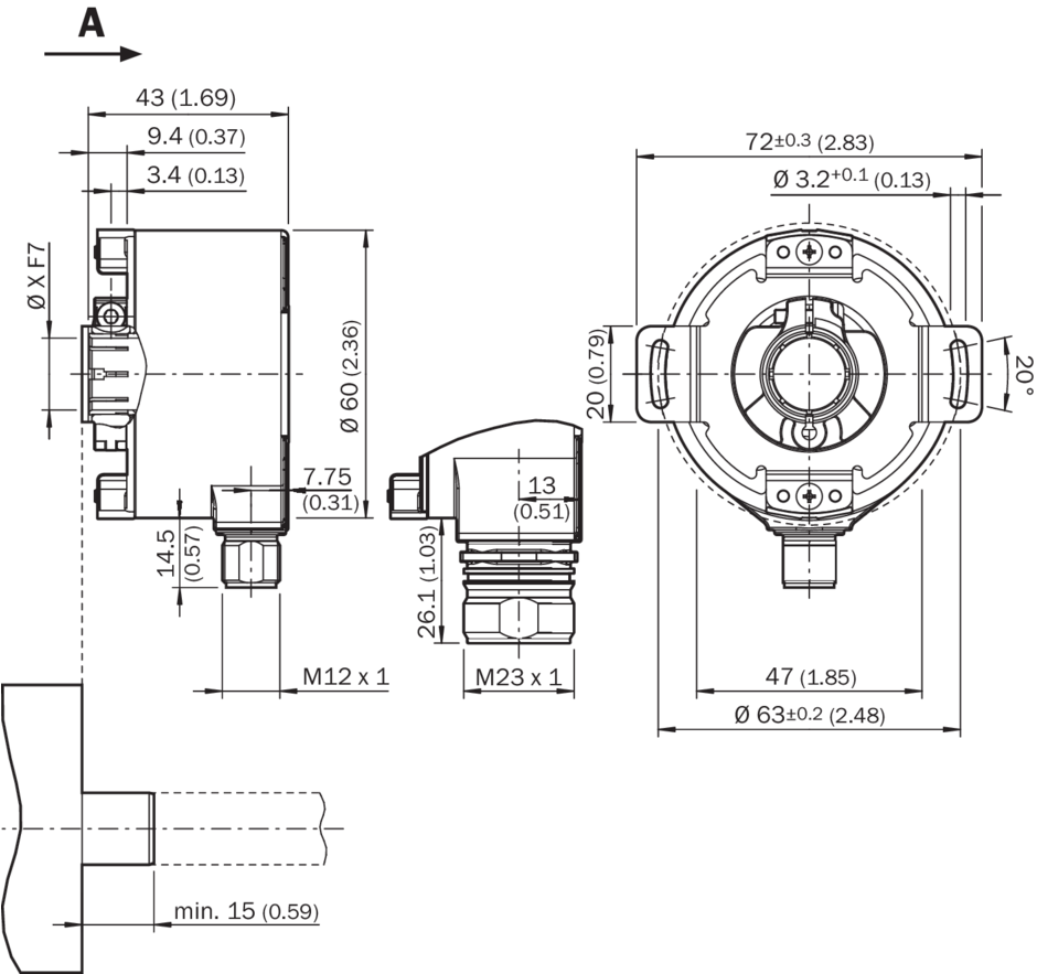 Vykres Pruchozi Duta Hridel Radialni Konektorova Pripojka M12 A M23