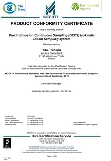 Certifcat de conformité DECS Tecora