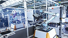Flexible cobot working on an assembly line.