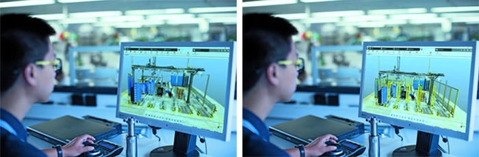 Safety components, which are already available in CAD data form, can be designed directly into the digi-talized machine.