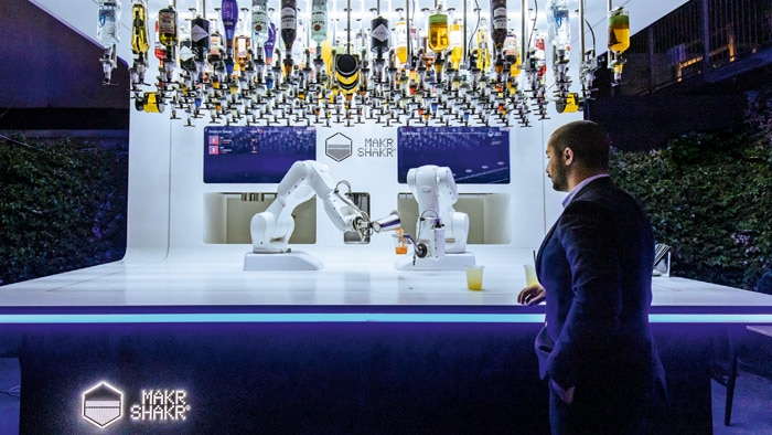 cocktail mixing robot with four safety laser scanners from SICK