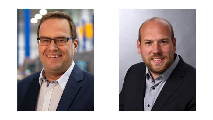 Henrik Schröder, Development Manager for Automated Guided Vehicles, Jungheinrich Norderstedt AG & Co. KG and Dennis Flottran, Co-Project Manager Automation at Jungheinrich Norderstedt AG & Co. KG