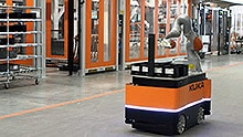 Mobile robots in the production department at KUKA