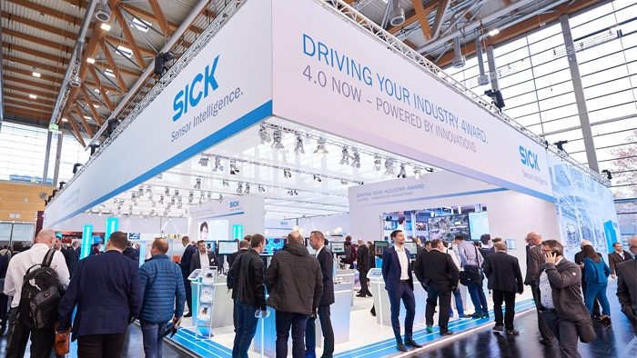 Visitors can explore the SICK booth across 4 topic routes: Industry 4.0, Mobile Applications, Safety or Robotics