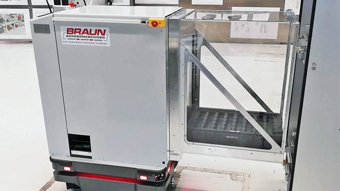 Using the BS Trayshuttles from Braun Sondermaschinen, companies can transport loads from one location to the next along an assembly line in an automated manner.