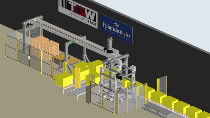 TGW gantry robots in action for the Heinrichsthaler Milchwerke customer project. Safe material feed and discharge implemented with Safe Entry Exit