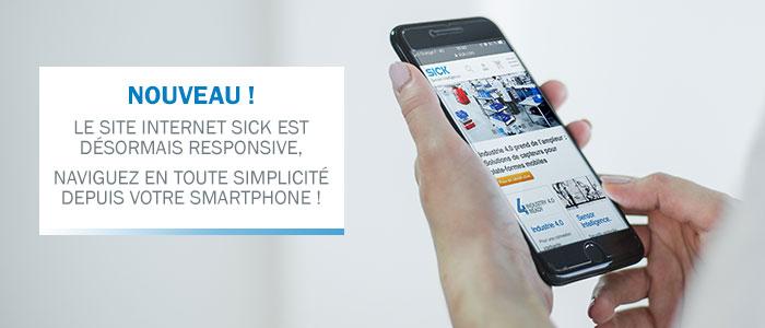 Le site internet SICK est disponible depuis les smartphones