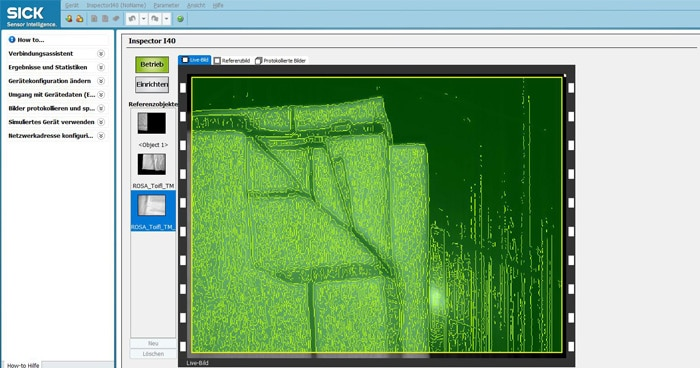 Commissioning is quick and easy using the free-of-charge SOPAS ET configuration software. It also displays the real-time images from the Inspector. The structure of the white hand towels is clearly discernible.