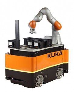 With the KMR iiwa, KUKA is combining the strengths of the sensitive LBR iiwa lightweight robot with a mobile and autonomous platform.  Pictures: KUKA Roboter GmbH