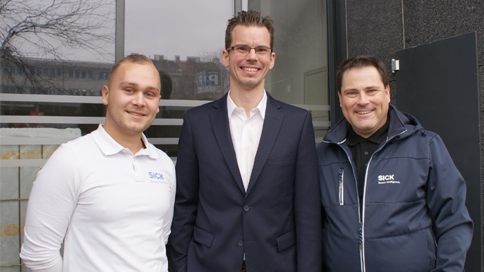 Matej Nujic, BSc, Sales Expert Industrial Vision and Systems at SICK Austria, Ing. Jakob Müller-Hartburg, Executive Assistant at Rosa Toifl and Ingo Wegscheider, Regional Sales Manager at SICK Austria (from left to right)