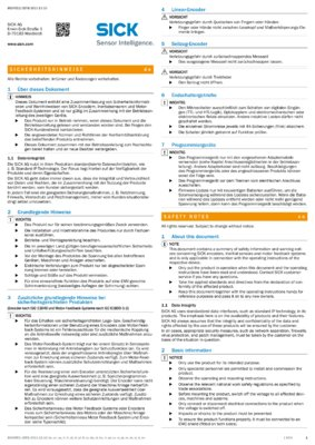 Safety notes Encoder, Motor feedback systems and inclination sensors