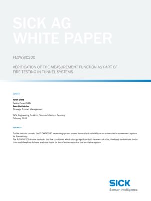 FLOWSIC200: VERIFICATION OF THE MEASUREMENT FUNCTION AS PART OF  FIRE TESTING IN TUNNEL SYSTEMS