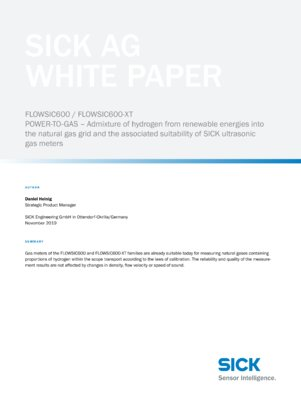 FLOWSIC600 / FLOWSIC600-XT: POWER-TO-GAS - Admixture of hydrogen from renewable energies into the natural gas grid and the associated suitability of SICK ultrasonic gas meters